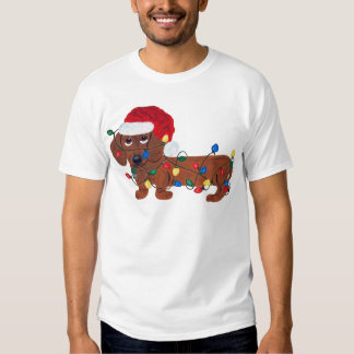 Dachshund Tangled In Christmas Lights (Red) Tshirt