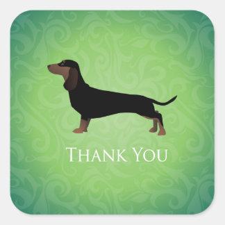 Dachshund Thank You Design Square Sticker