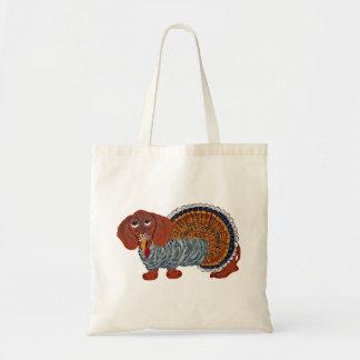 Dachshund Thanksgiving Turkey Canvas Bags