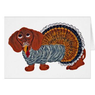 Dachshund Thanksgiving Turkey Card