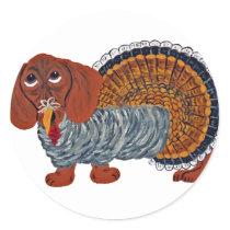 Dachshund Thanksgiving Turkey Classic Round Sticker
