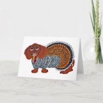 Dachshund Thanksgiving Turkey Holiday Card