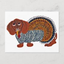 Dachshund Thanksgiving Turkey Holiday Postcard