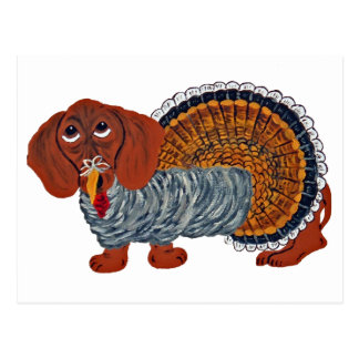 Dachshund Thanksgiving Turkey Postcard