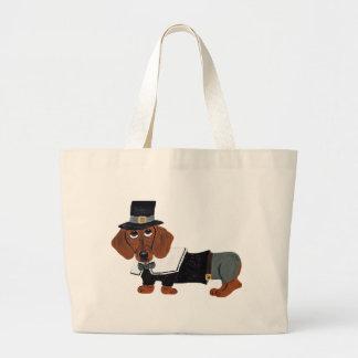 Dachshund Thanksgviving Pilgrim Canvas Bag