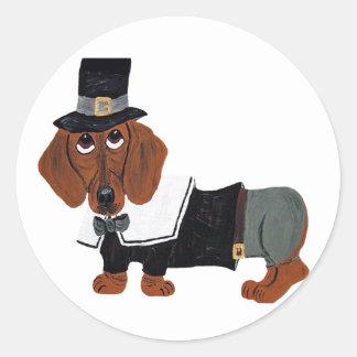 Dachshund Thanksgviving Pilgrim Classic Round Sticker