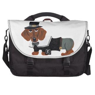 Dachshund Thanksgviving Pilgrim Laptop Commuter Bag