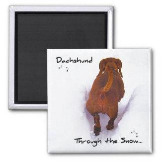 Dachshund Through Snow Dashing Through the Snow Magnet