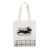 Dachshund through the snow Christmas Holidays Zazzle HEART Tote Bag