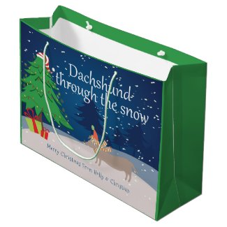 Dachshund Through The Snow Christmas Personalized Large Gift Bag