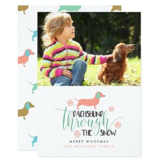 Dachshund Through the Snow Christmas Photo Cards