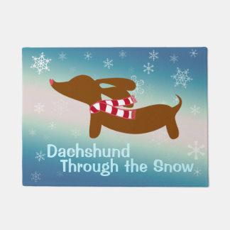 Dachshund Through The Snow Doormat Door Mat