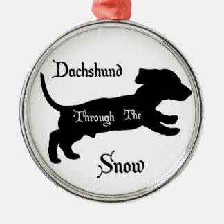 Dachshund through the snow ornament