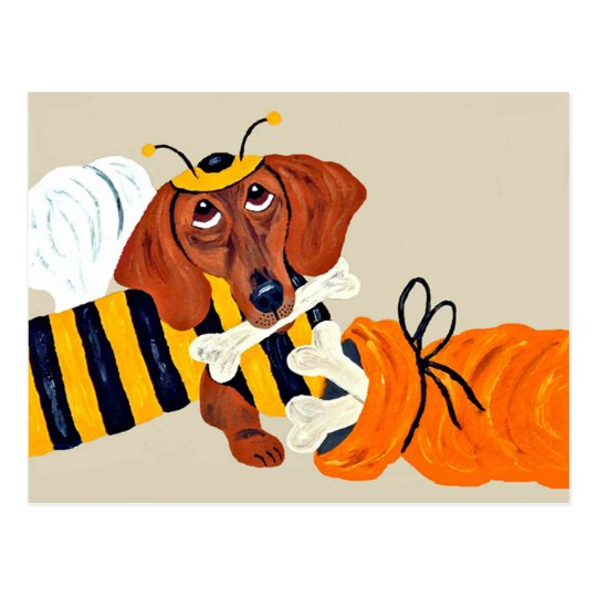 Dachshund Trick Or Treat Postcard