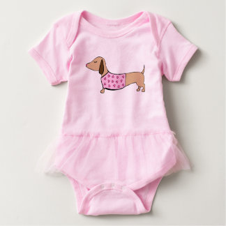 Dachshund Tutu ballerina One Piece Outfit for Baby Baby Bodysuit