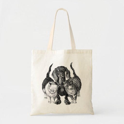 Dachshund  & Two Cats Etching  Tote Bag