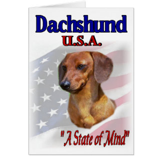 Dachshund USA Patriotic Card