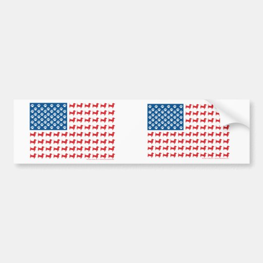 Dachshund USA Patriotic Flag Bumper Sticker