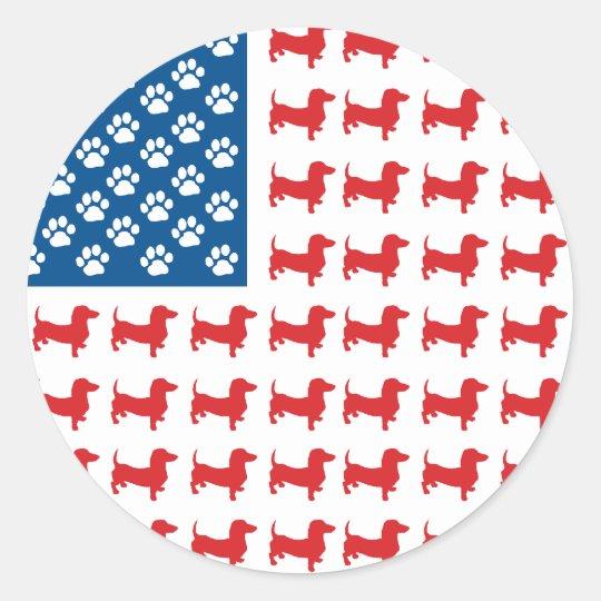 Dachshund USA Patriotic Flag Classic Round Sticker