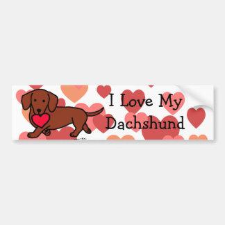 Dachshund Valentine Cartoon Bumper Sticker