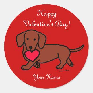 Dachshund Valentine Cartoon Classic Round Sticker