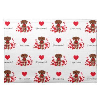 Dachshund Valentine Cartoon Cloth Placemat