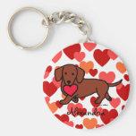 Dachshund Valentine Cartoon Keychain