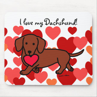 Dachshund Valentine Cartoon Mouse Pad