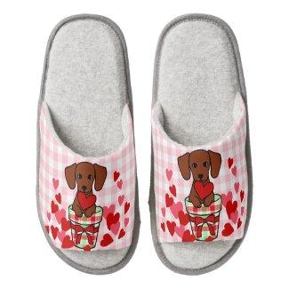 Dachshund Valentine Cartoon Pair Of Fuzzy Slippers