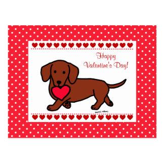 Dachshund Valentine Cartoon Postcard