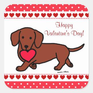 Dachshund Valentine Cartoon Square Sticker
