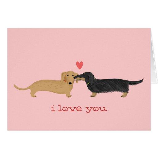 Dachshund Valentine Kiss Stationery Note Card