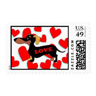 Dachshund Valentine's Day Card Postage Stamp