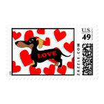 Dachshund Valentine's Day Card Stamps