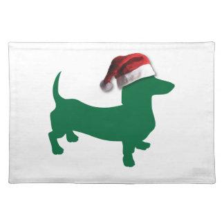 Dachshund verde del navidad mantel individual