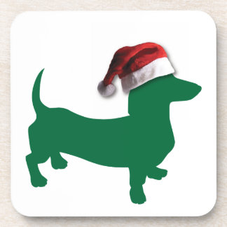 Dachshund verde del navidad posavaso