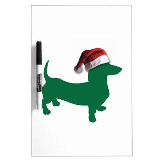 Dachshund verde del navidad tablero blanco