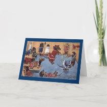 Dachshund Vintage Christmas Card