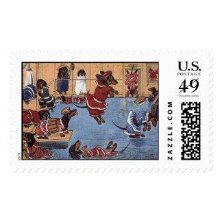 Dachshund Vintage Postage Stamp