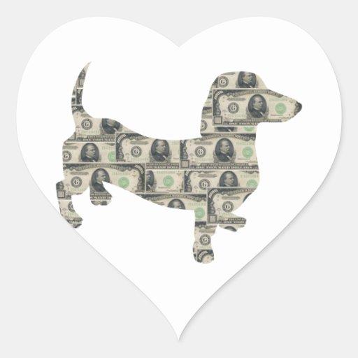 Dachshund Wall Street del dinero Pegatina En Forma De Corazón