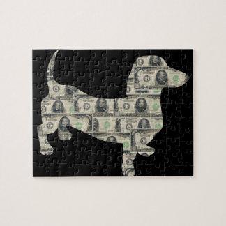 Dachshund Wall Street del dinero Puzzles Con Fotos