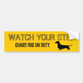 Dachshund Watch Your Step Funny Design Car Bumper Sticker