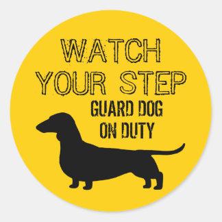 Dachshund Watch Your Step Funny Design Sticker