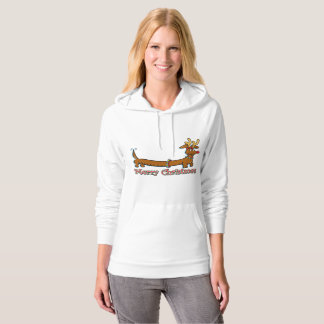 Dachshund wearing antlers for Christmas Hoodie