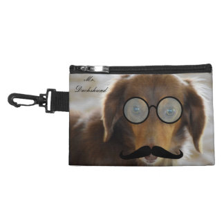 Dachshund wears glasses and mustache clip on bag