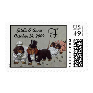 Dachshund Wedding Postage Stamp