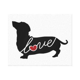 """Dachshund """"Weiner Dog"""" Love Canvas Print"""