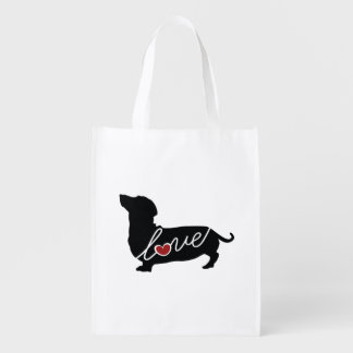 "Dachshund ""Weiner Dog"" Love Reusable Grocery Bags"
