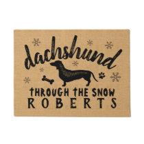 Dachshund Weiner Dog Winter Snow Burlap Custom Doormat