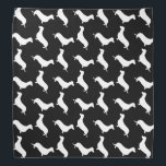 """Dachshund White Silhouettes on Black Bandana<br><div class=""""desc"""">Dachshund White Silhouettes on Black White outlined silhouettes on black color background of the short-legged Dachshund,  beloved by its owners for its feisty and clever temperament. Bred to ferret out badgers and other ground burrowers,  the tiny dog is not short on personality</div>"""